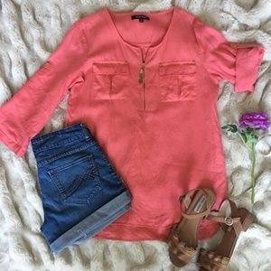 Ellen Tracy Coral Zip Front High Low Tunic Blouse